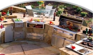 outdoor kitchen with open shelf